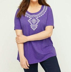 Catherines Purple Silver Embossed Plus Size 2x Tee